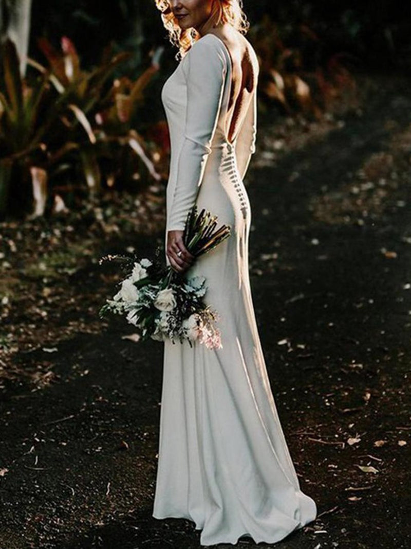 Button Floor-Length Long Sleeves Sheath/Column Beach Wedding Dress