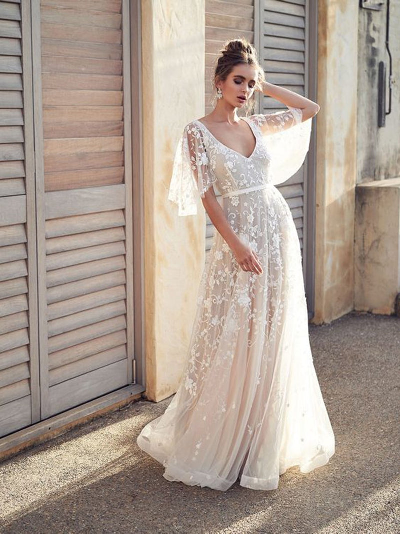 Half Sleeves Pattern Court A-Line Beach Wedding Dress
