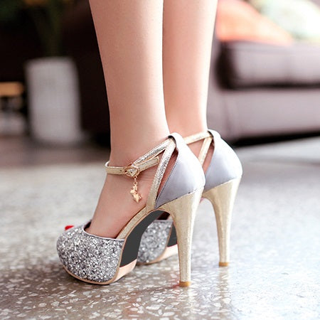 Stiletto Heel Sequin Peep Toe Line-Style Buckle Western Plain Thin Shoes