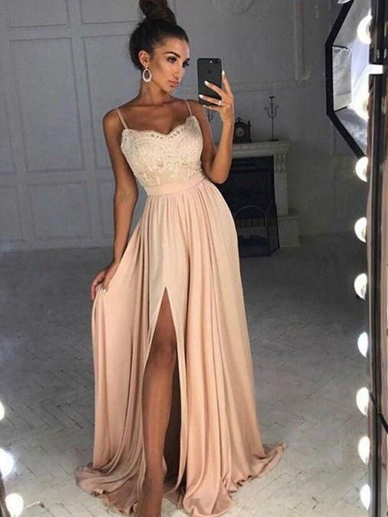 Split-Front A-Line Floor-Length Court Evening Dress