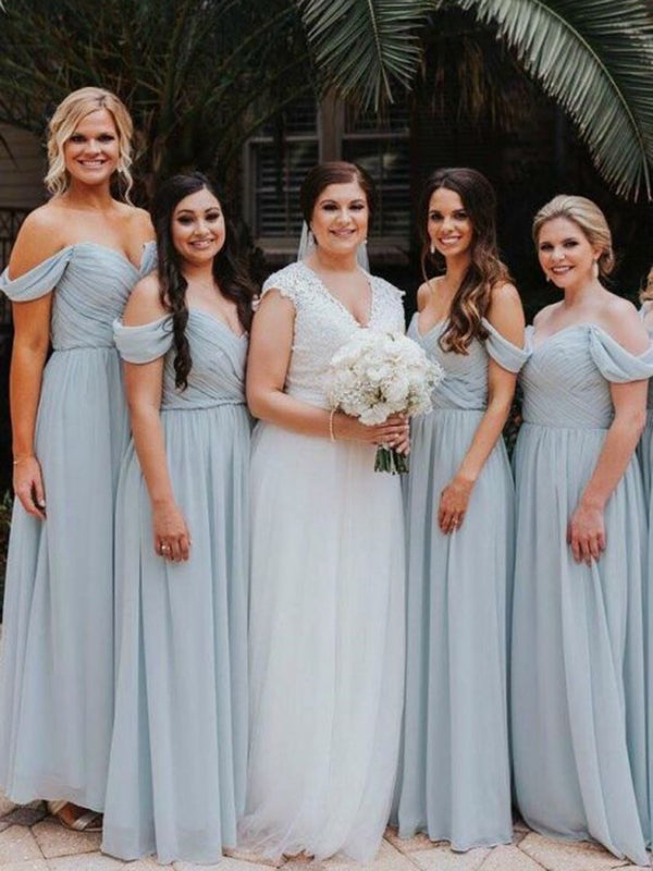 Sleeveless Off-The-Shoulder Floor-Length A-Line Wedding Party Dress