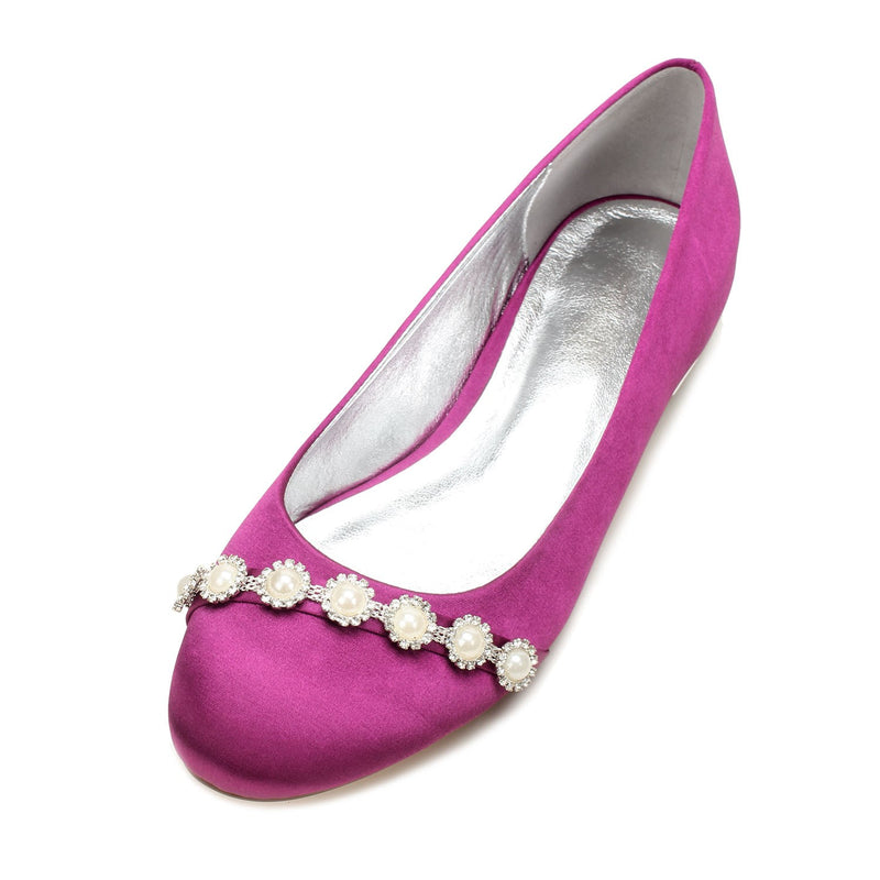 Beads Block Heel Slip-On Round Toe Plain Wedding Thin Shoes