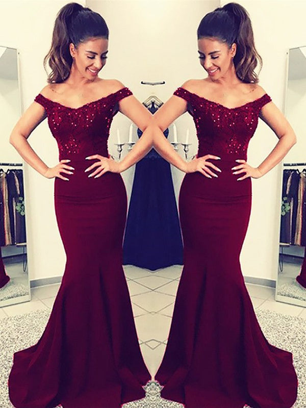 Short Sleeves Sweep/Brush Trumpet/Mermaid Off-The-Shoulder Formal Dress