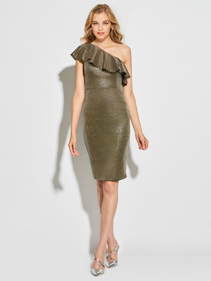 Sheath/Column Ruffles Short/Mini One Shoulder Cocktail Dress