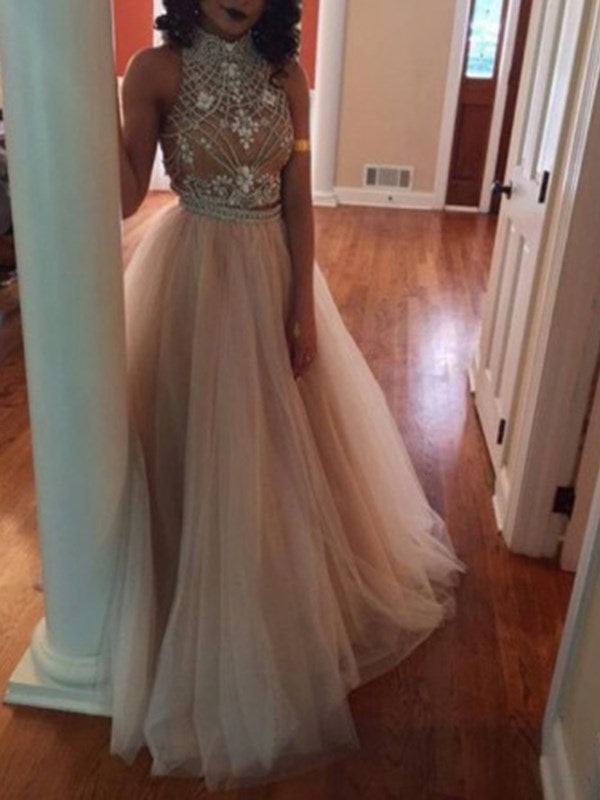 A-Line Sleeveless Floor-Length Beading Evening Dress