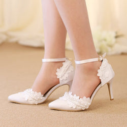 Pointed Toe Line-Style Buckle Lace Stiletto Heel Low-Cut Upper 9cm Thin Shoes