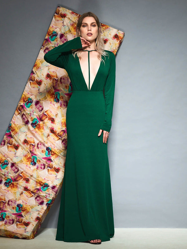 Sweep/Brush Trumpet/Mermaid Floor-Length Long Sleeves Evening Dress
