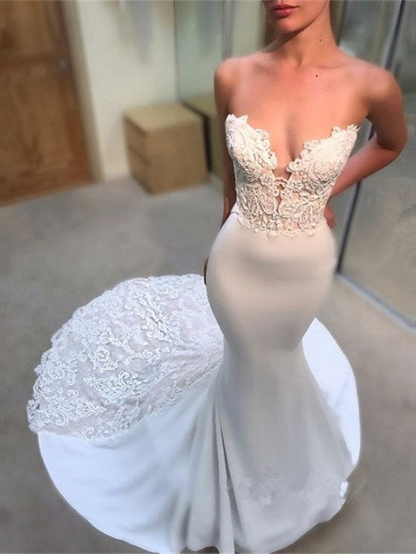 Appliques Sleeveless Floor-Length Court Hall Wedding Dress
