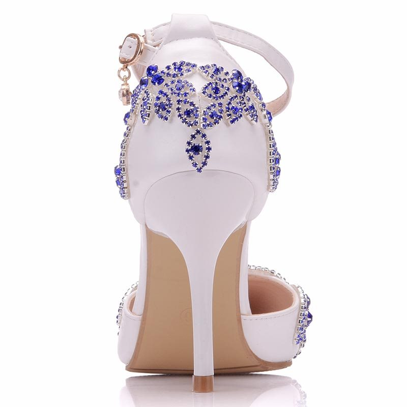 Stiletto Heel Pointed Toe Rhinestone Line-Style Buckle Wedding Low-Cut Upper Thin Shoes