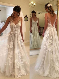 Lace Sweep/Brush A-Line Sleeveless Garden/Outdoor Wedding Dress