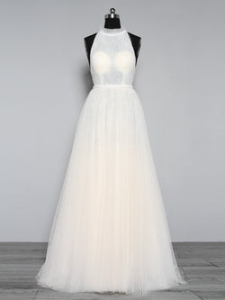 Sleeveless Halter A-Line Floor-Length Hall Wedding Dress
