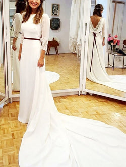 A-Line 3/4 Length Sleeves Sashes/Ribbons Chapel Church Wedding Dress