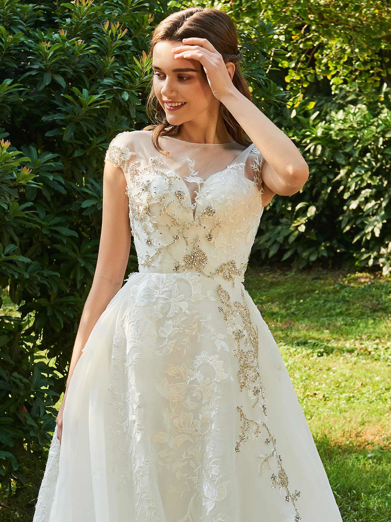 Scoop Cap Sleeves Lace Floor-Length Garden/Outdoor Wedding Dress