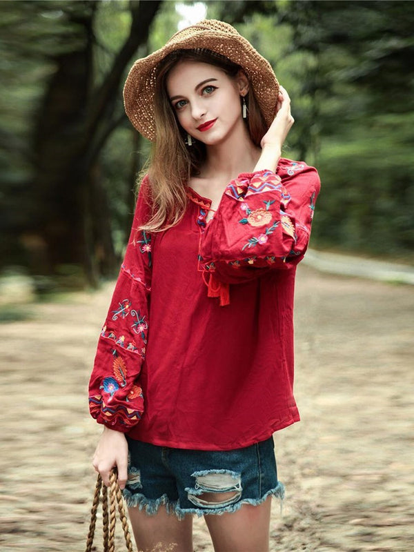 Floral Embroidery Long Sleeve Standard Blouse