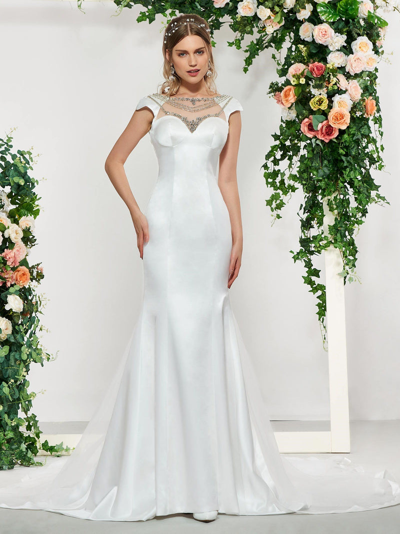 Cap Sleeves Watteau Floor-Length Bateau Hall Wedding Dress