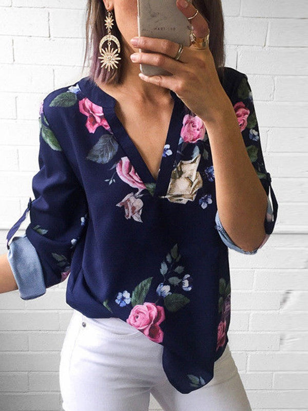Floral Print V-Neck Standard Nine Points Sleeve Blouse