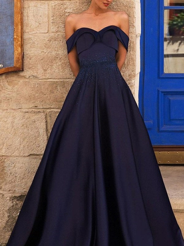 A-Line Off-The-Shoulder Beading Short Sleeves Evening Dress