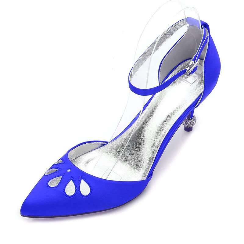 Stiletto Heel Pointed Toe Line-Style Buckle Hollow Wedding Low-Cut Upper Thin Shoes