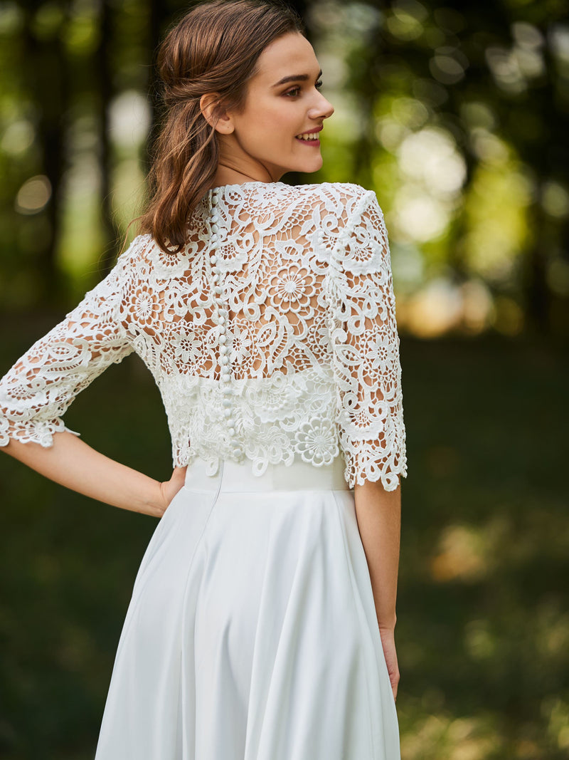 Floor-Length Jewel Lace Half Sleeves Church Wedding Dress