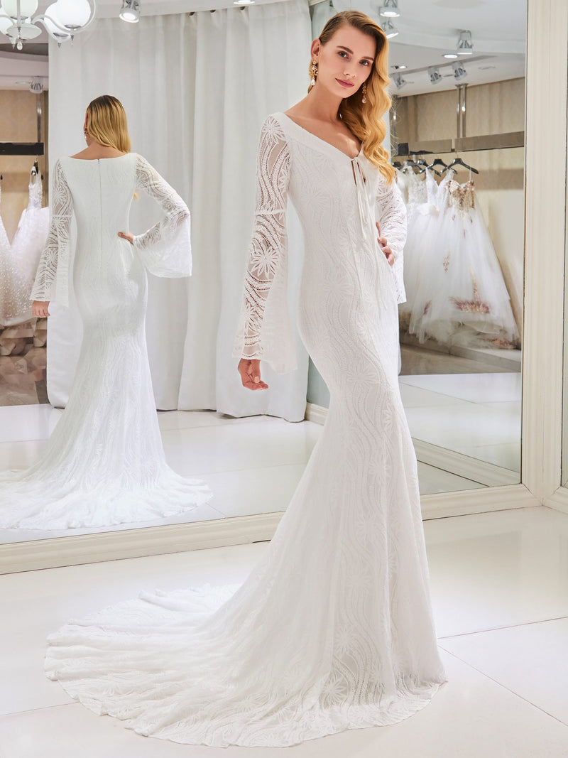 V-Neck Long Sleeves Lace Floor-Length Hall Wedding Dress