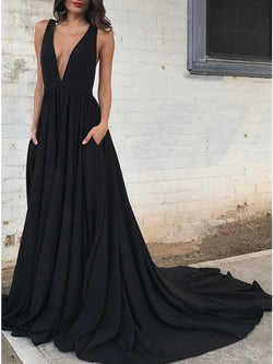 Floor-Length V-Neck A-Line Pleats Evening Dress