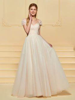 Beading V-Neck Cap Sleeves A-Line Hall Wedding Dress