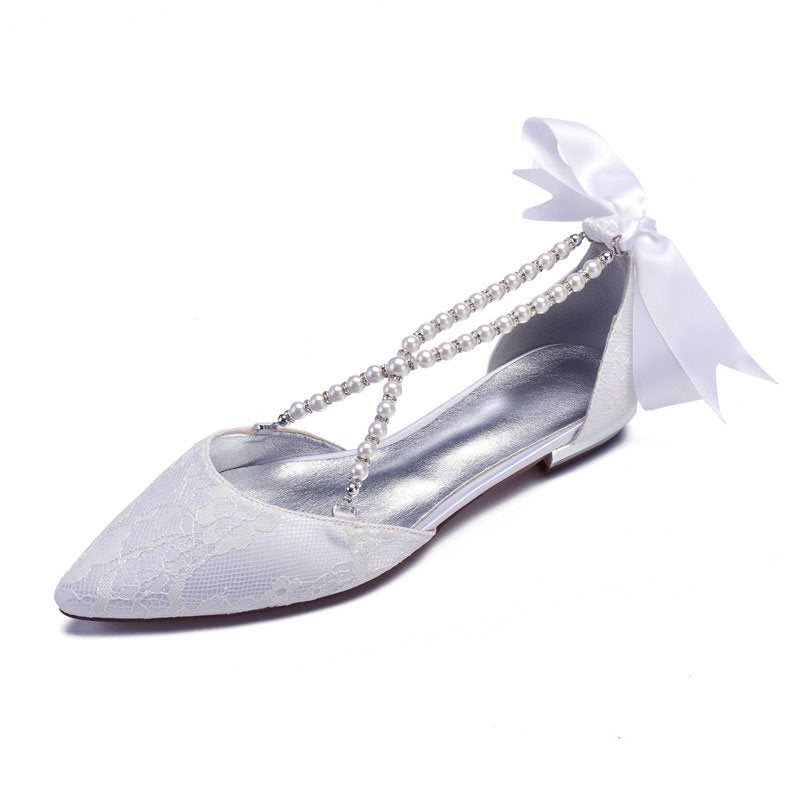 Slip-On Pointed Toe Block Heel Beads 2cm Low-Cut Upper Thin Shoes