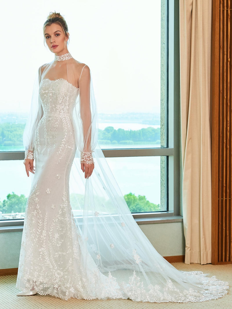 Lace Watteau Floor-Length Strapless Hall Wedding Dress