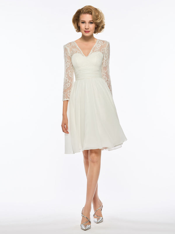 V-Neck Knee-Length 3/4 Length Sleeves Lace Wedding Party Dress