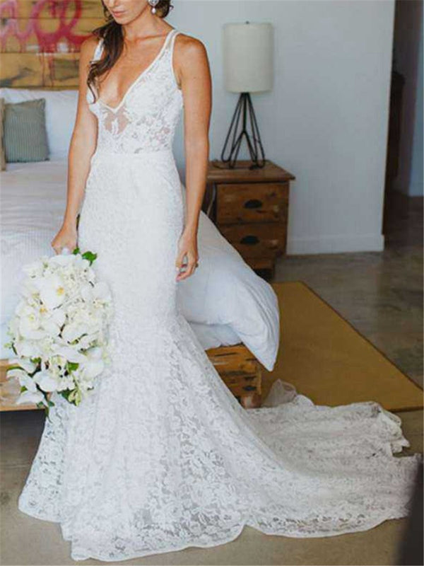 Court Sleeveless Lace Floor-Length Church Wedding Dress
