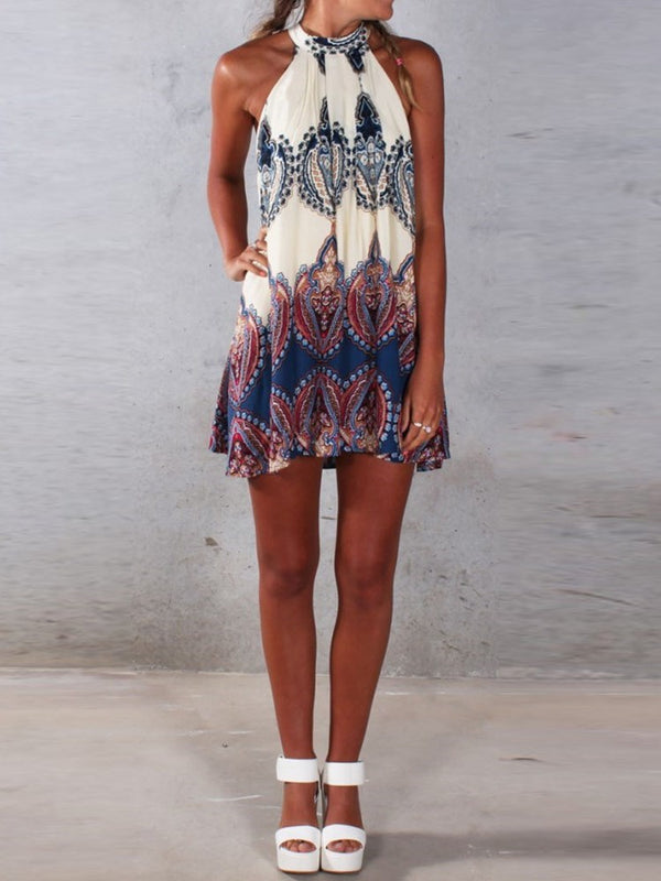Above Knee Round Neck Print Color Block Halter Dress
