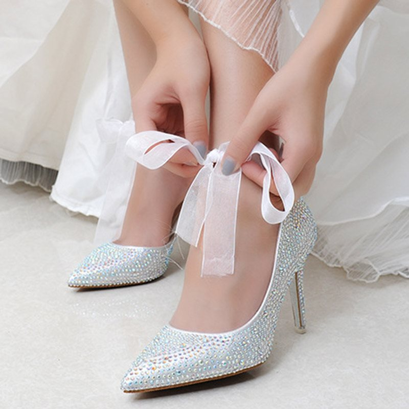Rhinestone Lace-Up Pointed Toe Stiletto Heel Plain 9cm Thin Shoes