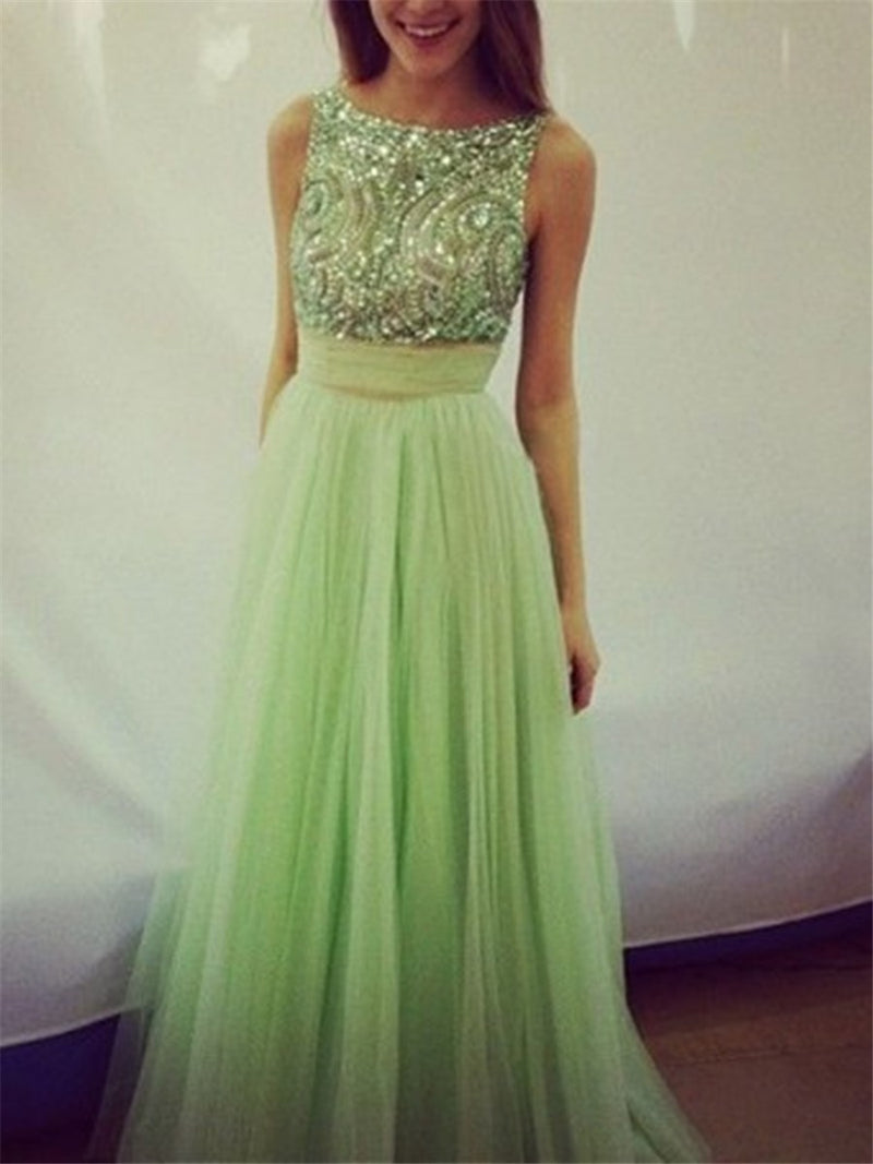 Sleeveless Scoop Floor-Length A-Line Prom Dress