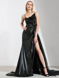 Spaghetti Straps Floor-Length A-Line Sleeveless Formal Dress