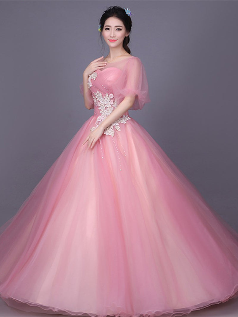 Floor-Length Short Sleeves Flowers Ball Gown Quinceanera Dress