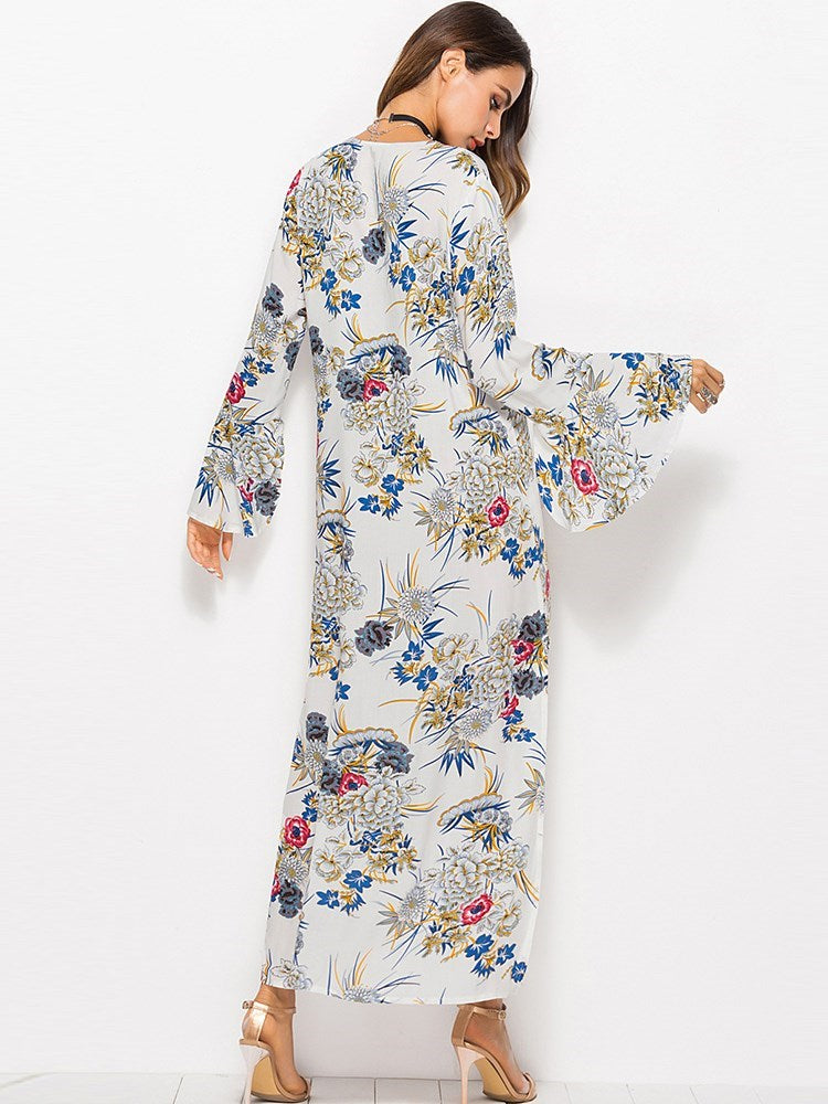 Long Sleeve V-Neck Print Travel Look Floral Dress