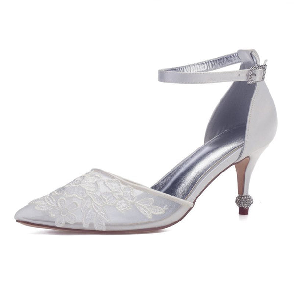 Stiletto Heel Rhinestone Pointed Toe Line-Style Buckle Wedding Patchwork Thin Shoes