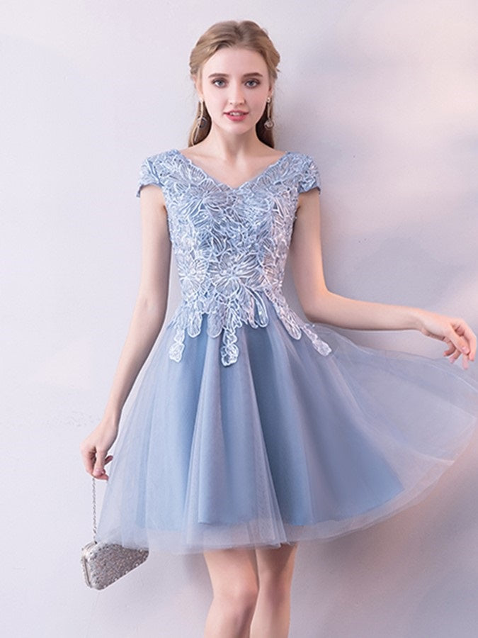 A-Line Appliques Short/Mini Cap Sleeves Cocktail Dress