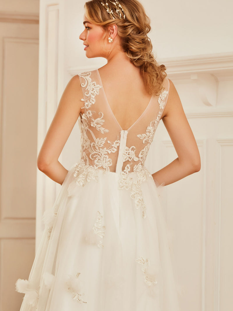 Sleeveless Appliques Tea-Length A-Line Church Wedding Dress