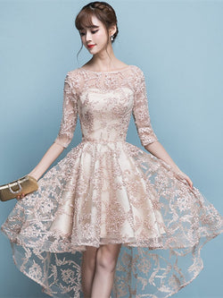 Bateau A-Line Lace Half Sleeves Homecoming Dress