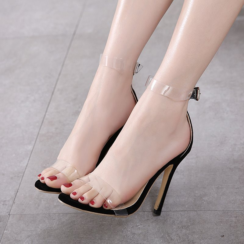 Heel Covering Line-Style Buckle Open Toe Stiletto Heel Low-Cut Upper Banquet Sandals