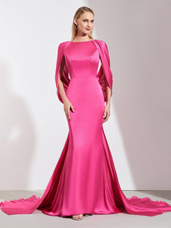 Bateau Trumpet/Mermaid Pleats Court Evening Dress