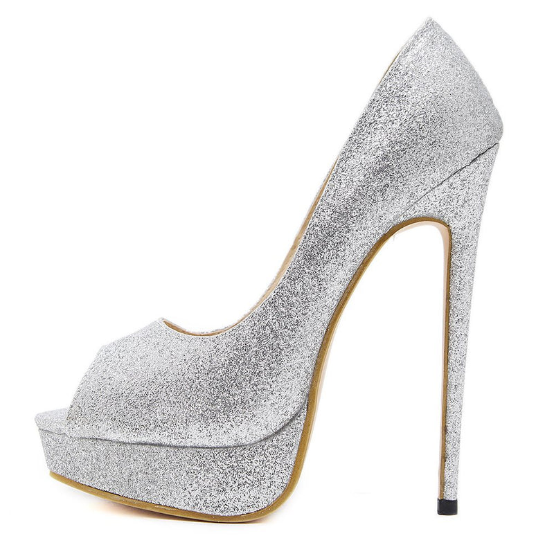 Peep Toe Stiletto Heel Slip-On Sequin Low-Cut Upper Banquet Thin Shoes