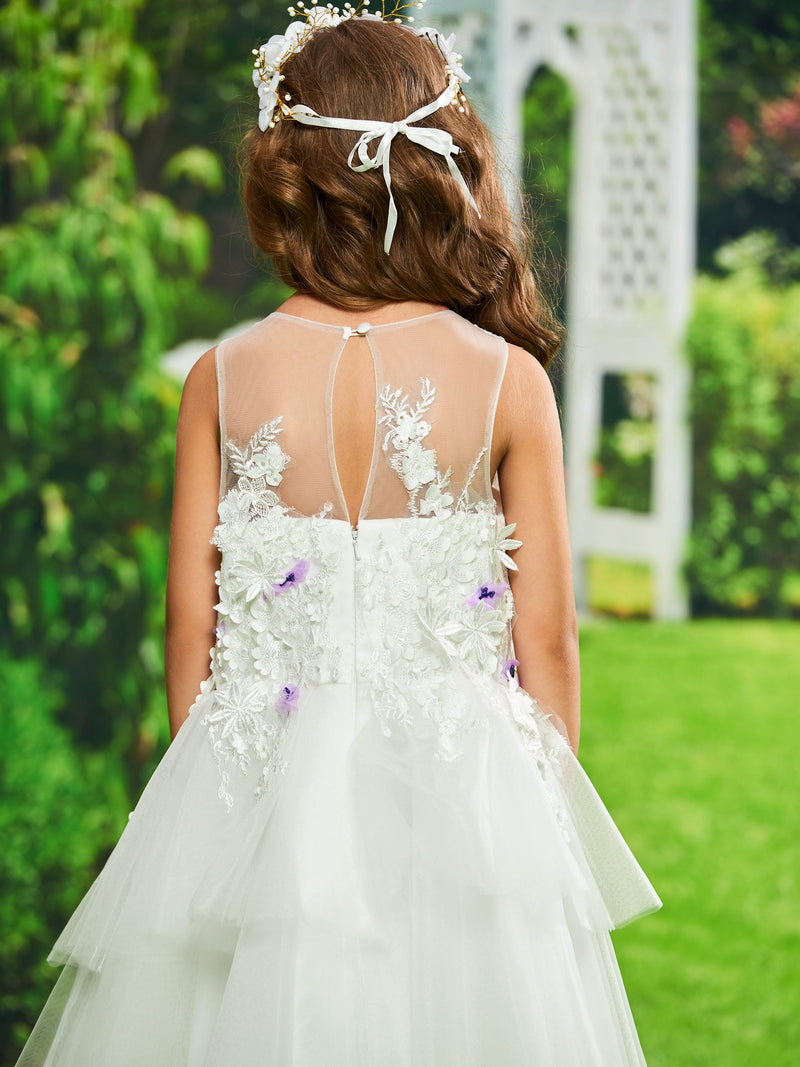 Appliques Fall Scoop Ball Gown Flower Girl Dress