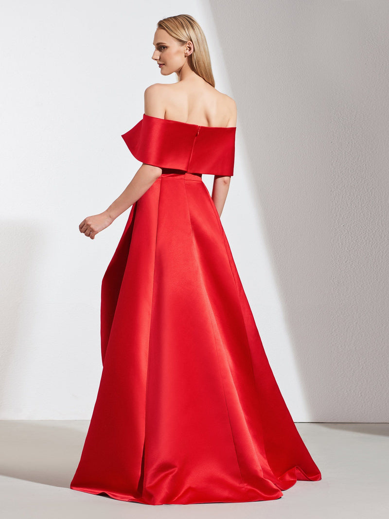 Asymmetry Pick-Ups Sleeveless A-Line Evening Dress