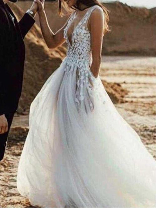 V-Neck Sleeveless Flowers Floor-Length Beach Wedding Dress