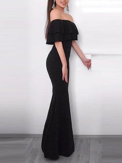 Off-The-Shoulder Ruffles Trumpet/Mermaid Floor-Length Evening Dress