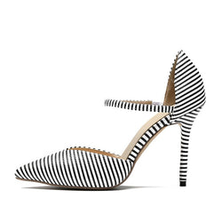 Print Slip-On Pointed Toe Stiletto Heel Stripe 10cm Thin Shoes