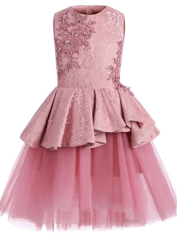 Sleeveless Jewel Ball Gown Summer Flower Girl Dress