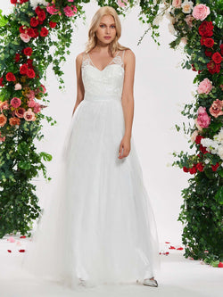 Appliques V-Neck Floor-Length A-Line Garden/Outdoor Wedding Dress